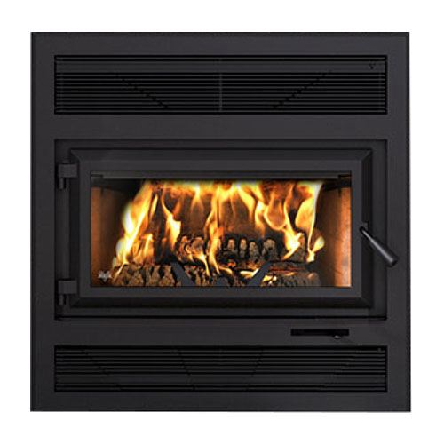 Ventis HE250R Large Single Door Wood Fireplace and Modern Style Faceplate