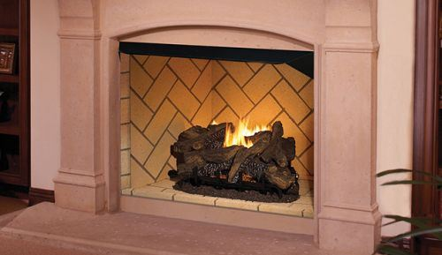 "42"" Vent-Free Firebox with Ivory Split Stacked Liner"