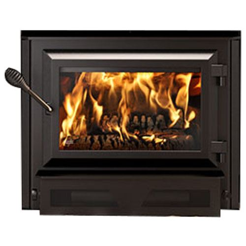 Ventis HEI170 Medium Single Door Wood Fireplace Insert and Large Faceplate (34'' x 50'')