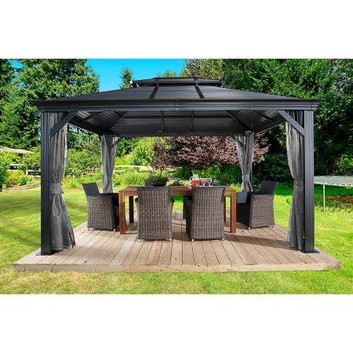 Santorini Metal Gazebo 2x2.5m Lean To Canopy Shelter Garden Patio Sun Shade