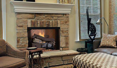 "42"" Vent-Free Firebox with Warm Red Split Herringbone Liner"