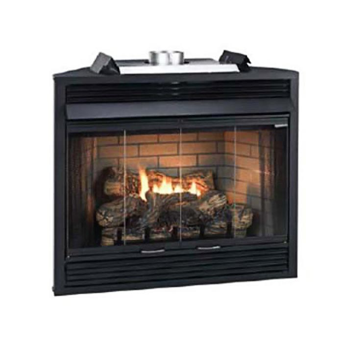 "Deluxe MV 34"" Flush Face B-Vent Fireplace - Natural Gas"
