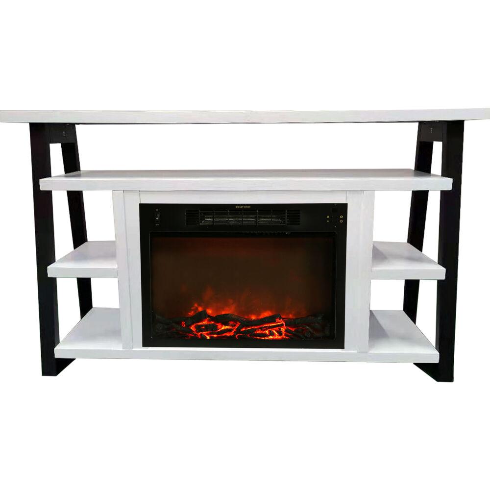 "Cambridge 32"" Sawyer Electric Fireplace Mantel/Logs - WHT/BLK"