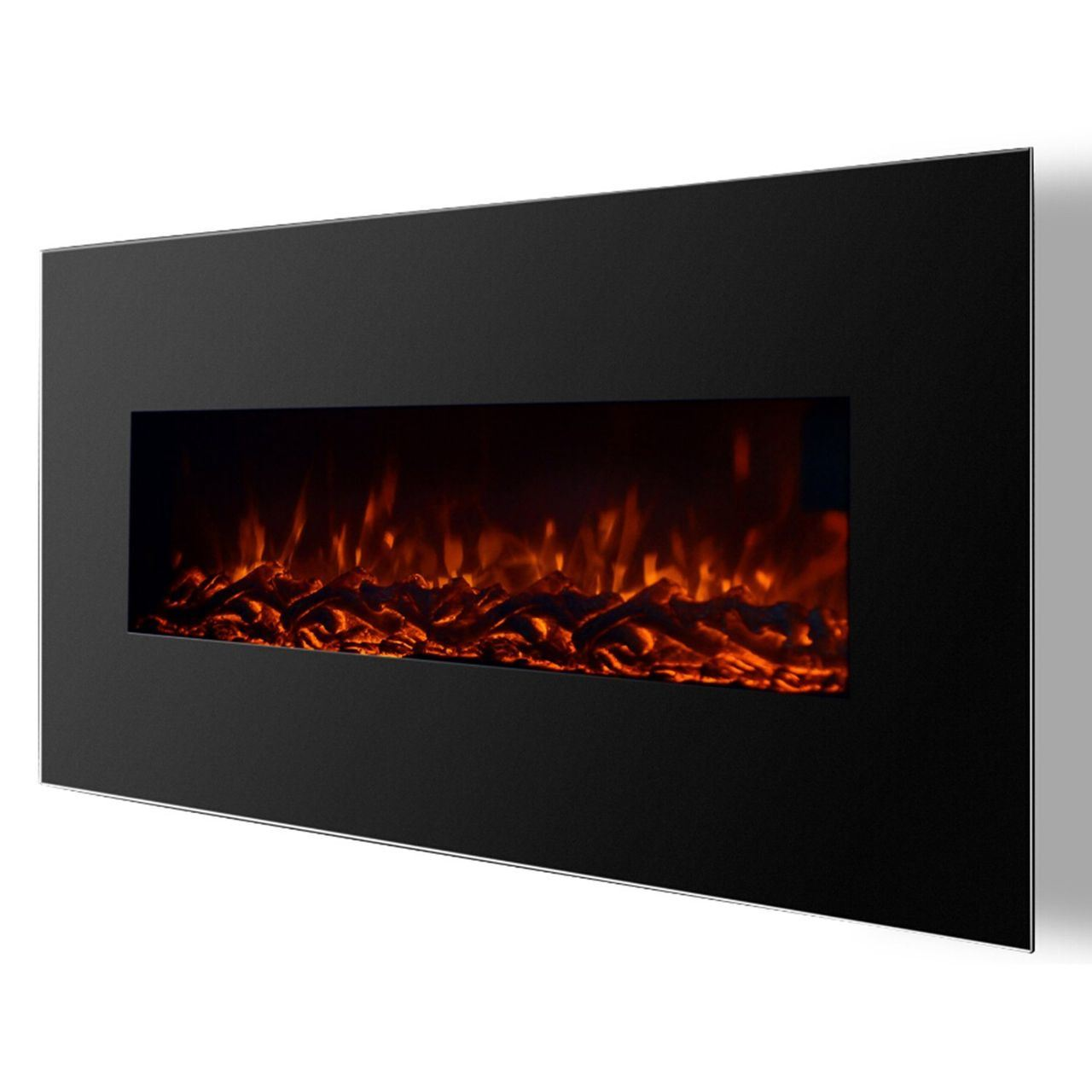 Regal Flame RF1002 Valencia 50in Black Electric Wall Mounted Fireplace - Log