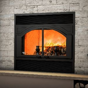 Ventis ME300 Very Large Double Door Wood Burning Fireplace and Rustic Style Faceplate