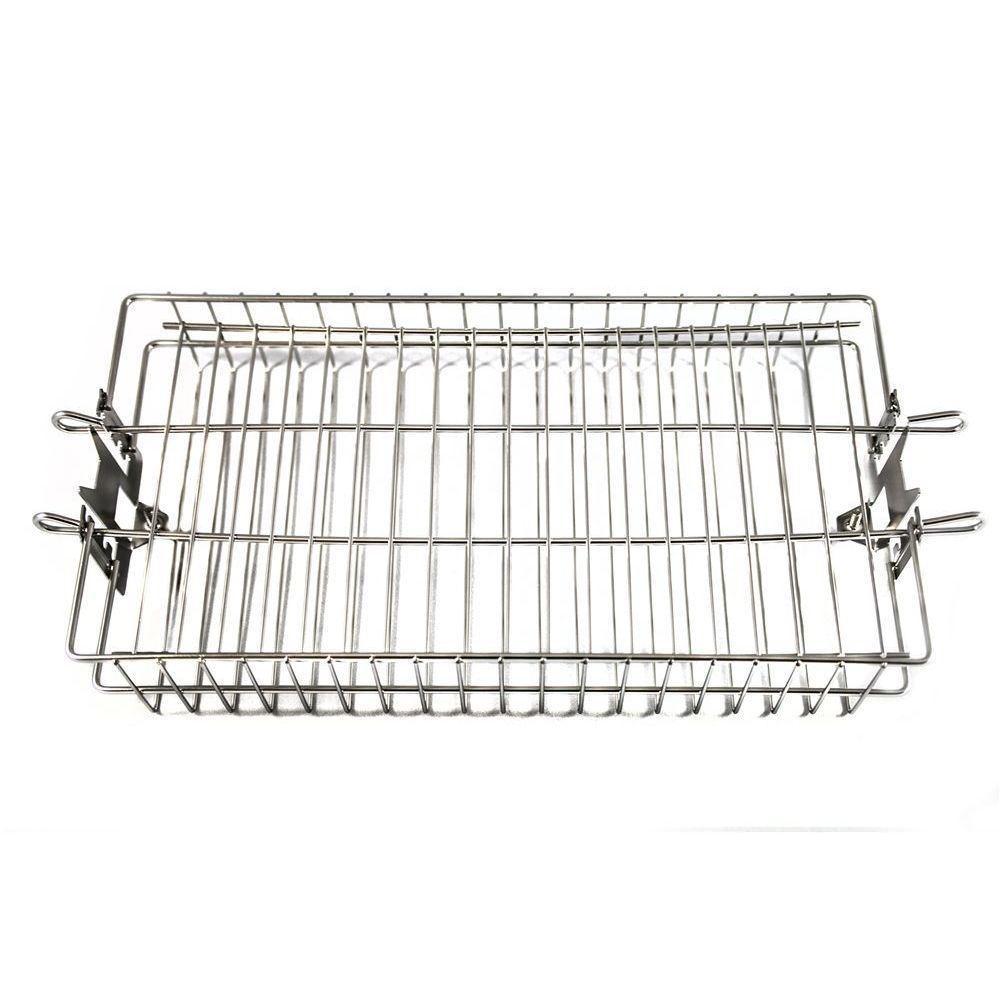 """OneGrill 4PB10 Chrome Rotisserie Spit Rod Flat Basket -5/16""""Sq 3/8""""Sq 1/2""""Hex"""