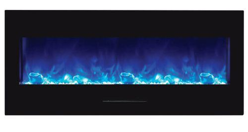 "50"" Electric Fireplace with Black Glass Surround, No Mood Light"