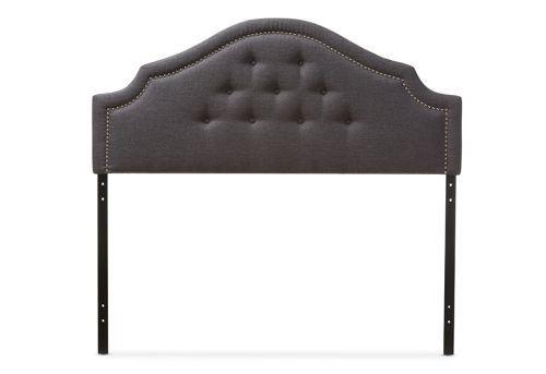 Contemporary Dark Grey Fabric Upholstered King Size Headboard
