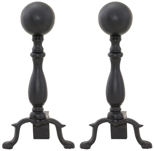 "17"" H Black Ball Andiron By Uniflame"