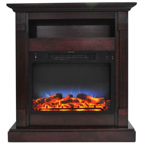 34 In. Electric Fireplace with Multi-Color LED and Mahogany Mantel