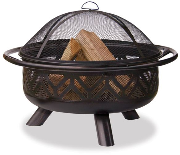 Oil Rubbed Bronze Outdoor Firebowl With Geometric Design