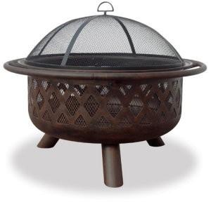 """32"""" Wide Oil Rubbed Bronze Firebowl W/ Lattice Design"""
