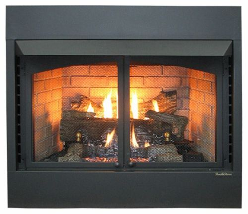 "Buck Stove 36"" Vent Free Zero Clearance Gas Fireplace w/ Oak Logs - LP"