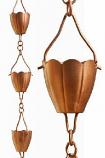 Copper Flower Cup Rain Chain -8.5' Full Length