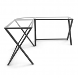 Ryan Rove RR1059 Keeling X Frame Computer Desk in Black Frame/Clear Glass