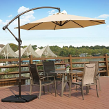Cantilever Hanging Patio Umbrella with Cross Base & Crank, Beige