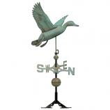 Copper Duck Weathervane - Verdigris