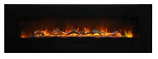 "60"" Flush Mount Electric Fireplace w/Black Glass Surround and Log Set"