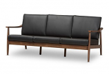 Venza Mid-Century Modern Walnut Wood Black Faux Leather 3-Seater Sofa