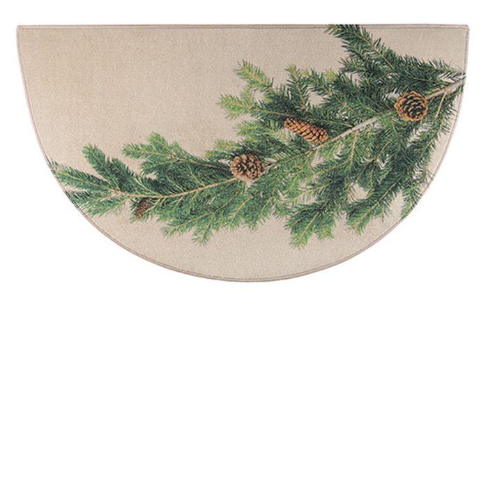 "Hearthside Printed Nylon Pine Half Round Rug - 48"" x 27"""