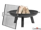 """Cook King Polo 27.6"""" Black Steel Fire Bowl w/ 19.6"""" Grill Grate"""