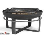 """Cook King Viking 23.6"""" Black Steel Garden Fire Bowl with Grill Grate"""