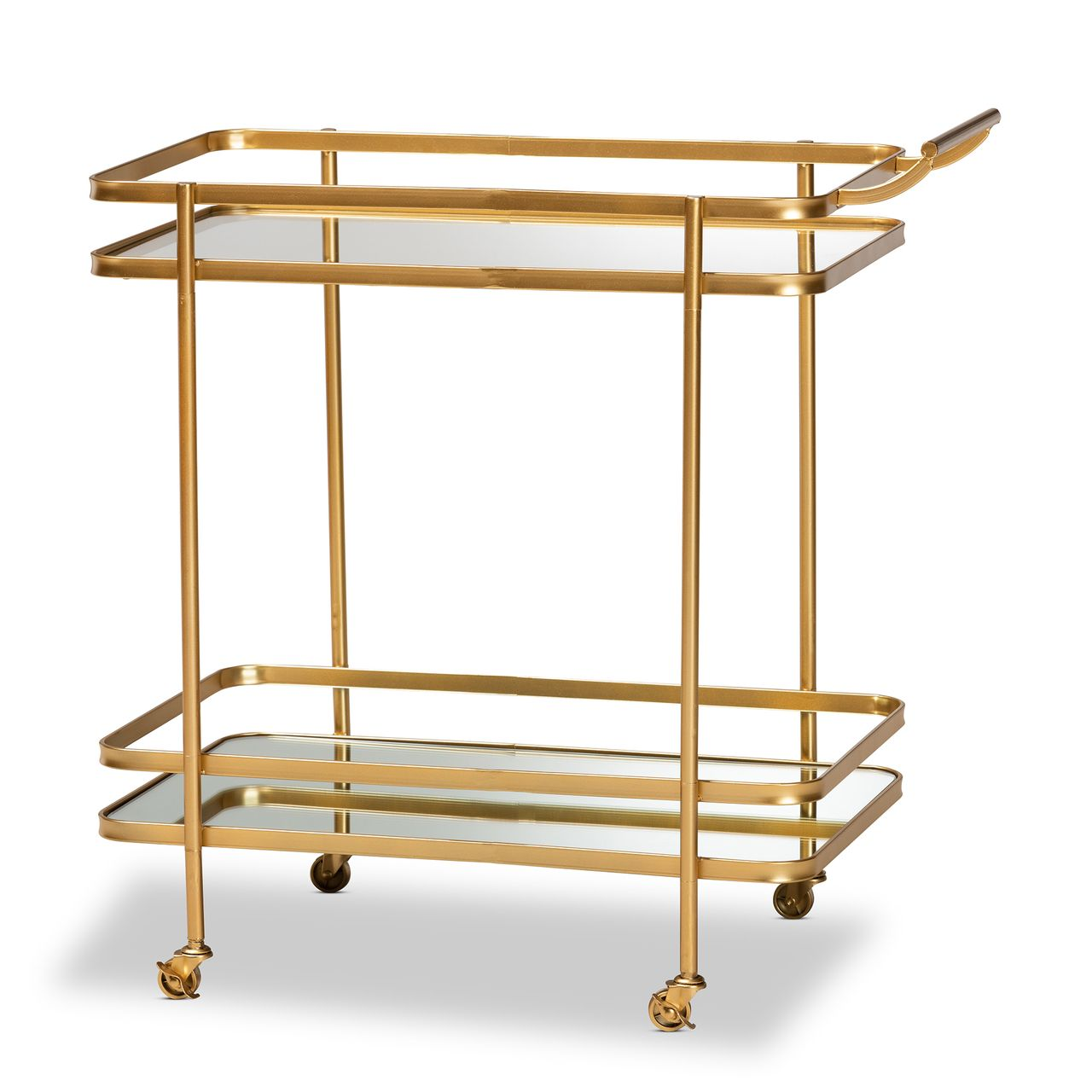 Baxton Studio Destin Gold Metal and Glass 2-Tier Mobile Wine Bar Cart