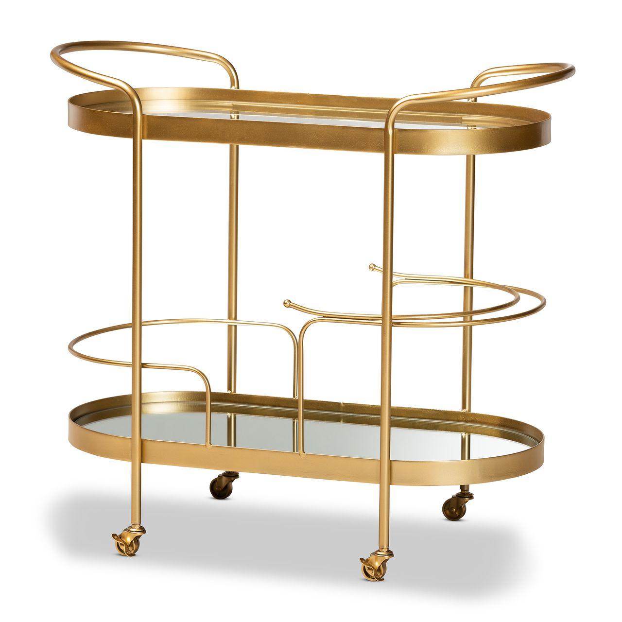 Baxton Studio Kamal Gold Metal and Glass 2-Tier Mobile Wine Bar Cart
