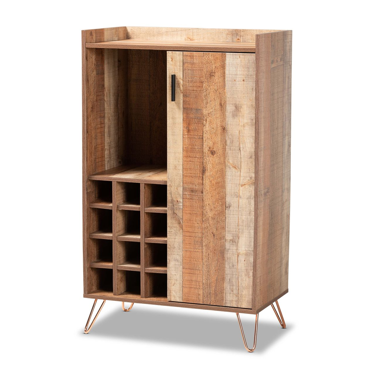 Baxton Studio Mathis Brown and Rose Gold Metal Wine Storage Cabinet