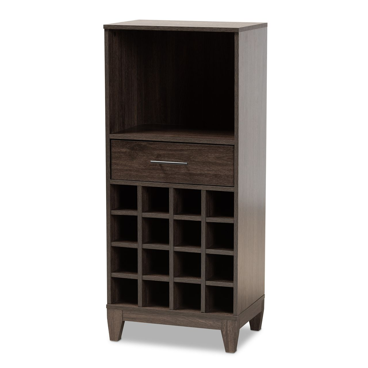 Baxton Studio Trenton Dark Brown 1-Drawer Wine Storage Cabinet