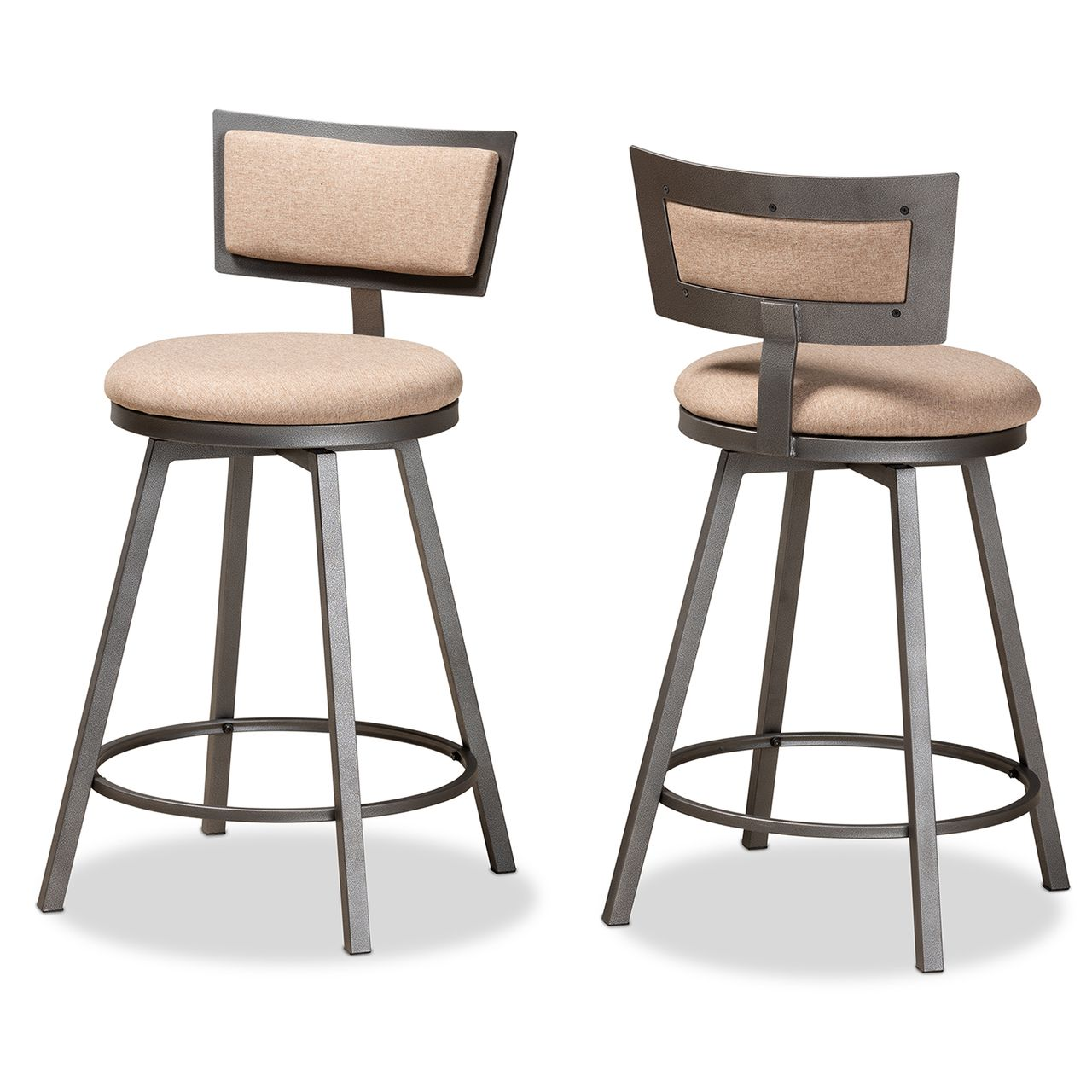 Baxton Studio Danson Light Brown and Grey 2-Piece Swivel Pub Chair Set