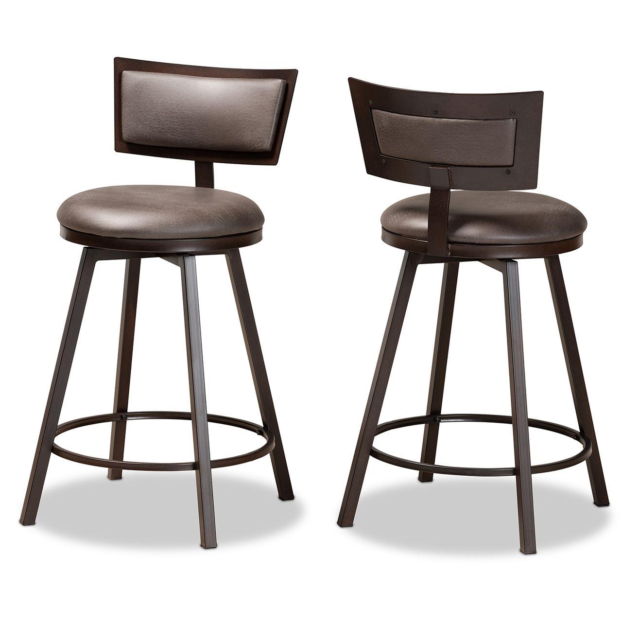 Baxton Studio Danson Grey and Dark Brown 2-Piece Pub Chair Set