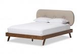 Walnut Wood Light Beige Fabric Upholstered Queen Size Platform Bed