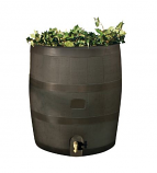 RTS Round Rain Barrel w/ Planter - Mud