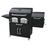 BRAVO PREMIUM Charcoal Grill with offset smoker & storage cabinet