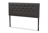 Windsor Modern and Contemporary Dark Grey Fabric Queen Size Headboard