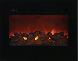 "30"" ZECL Electric Fireplace with 32"" x 26"" Black Glass Surround"
