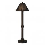"Tahiti II 60"" Bronze Tube Floor Lamp with Walnut Wicker Shade"