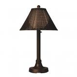 "Tahiti II 34"" Bronze Tube Table Lamp with Walnut Wicker Shade Model 17217"