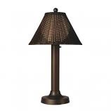 "Tahiti II 34"" Bronze Tube Table Lamp with Walnut Wicker Shade Model 17257"