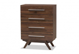 Auburn Mid-Century Modern Walnut Brown Finished Wood 4-Drawer Chest