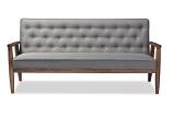 Modern Grey Fabric Upholstered Wooden 3 Piece Living room Set
