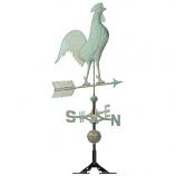 Copper Rooster Weathervane - Verdigris