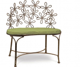 Arett D68-BE206 Daisy Metal Patio/Outdoor Bench in Natural Patina