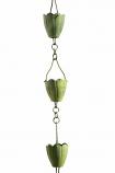 Verdigris Flower Cup Rain Chain -8.5' Full Length