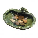 Ceramic Solar Frog Fountain - Glazed Green