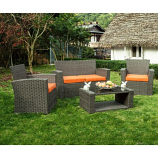 Delano 4-Piece Patio Conversation Sofa Set with Cushions, Orange