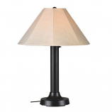Seaside Black Outdoor Table Lamp with Antique Beige Linen Shade