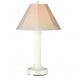 Seaside White Outdoor Table Lamp with Antique Beige Linen Shade