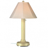 Seaside Bisque Outdoor Table Lamp with Antique Beige Linen Shade